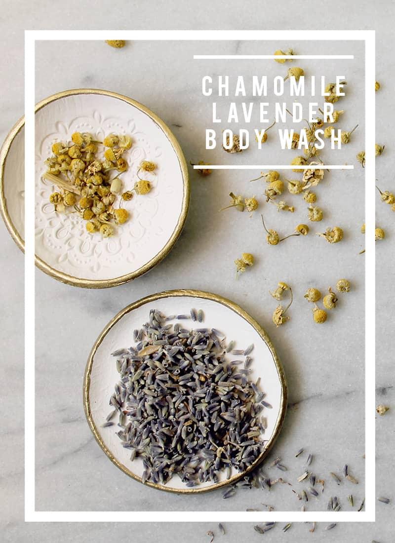 Natural Chamomile Lavender DIY Body Wash Ingredients