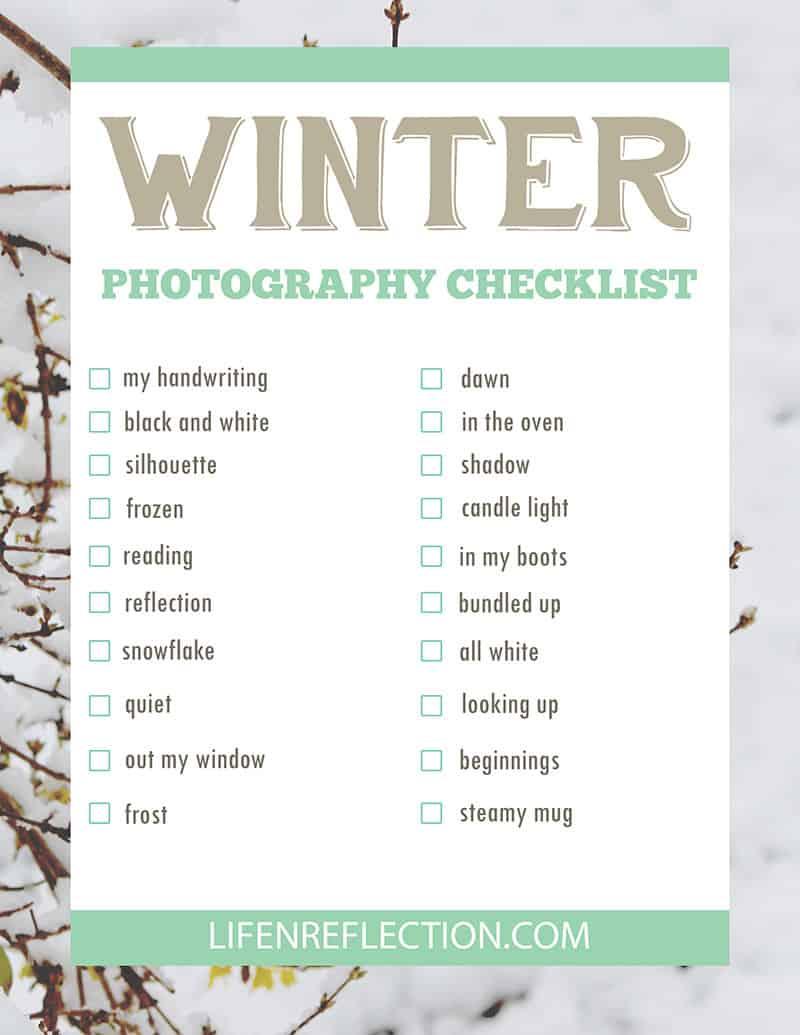 printable winter photography checklist