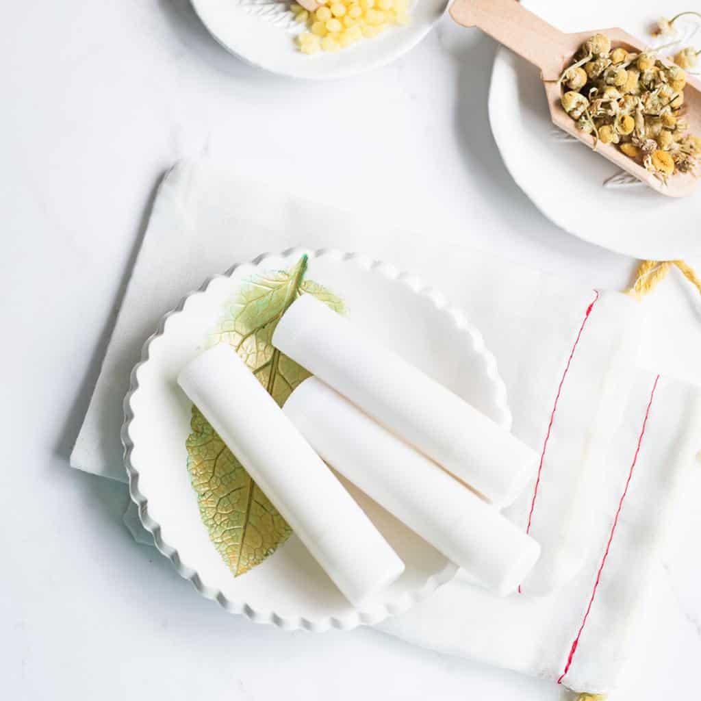 creamy smooth lemon chamomile lip balm recipe