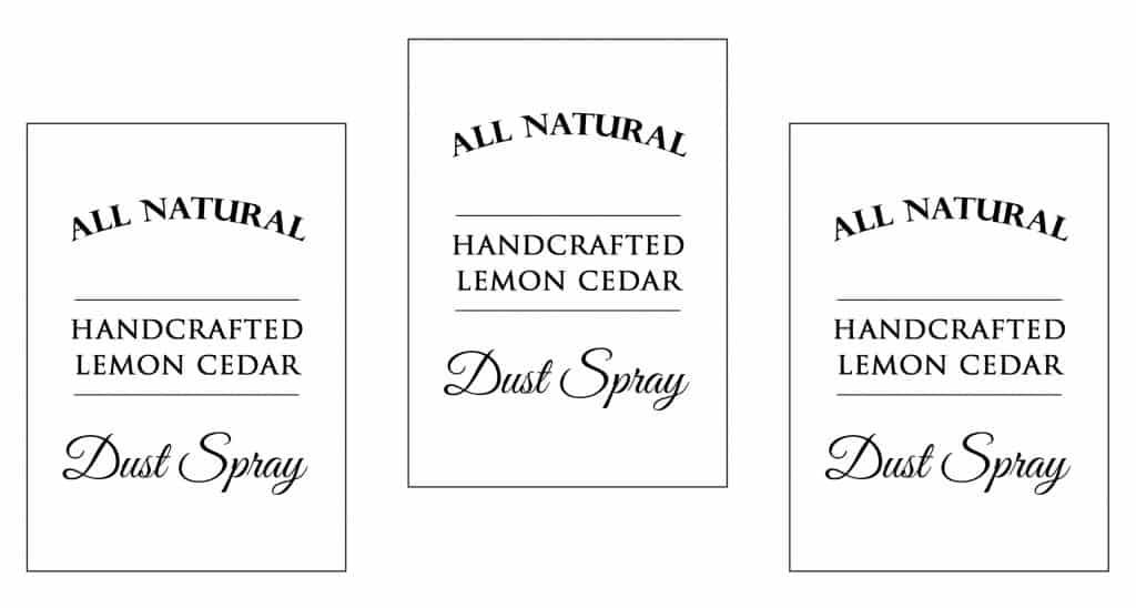 printable dust spray labels