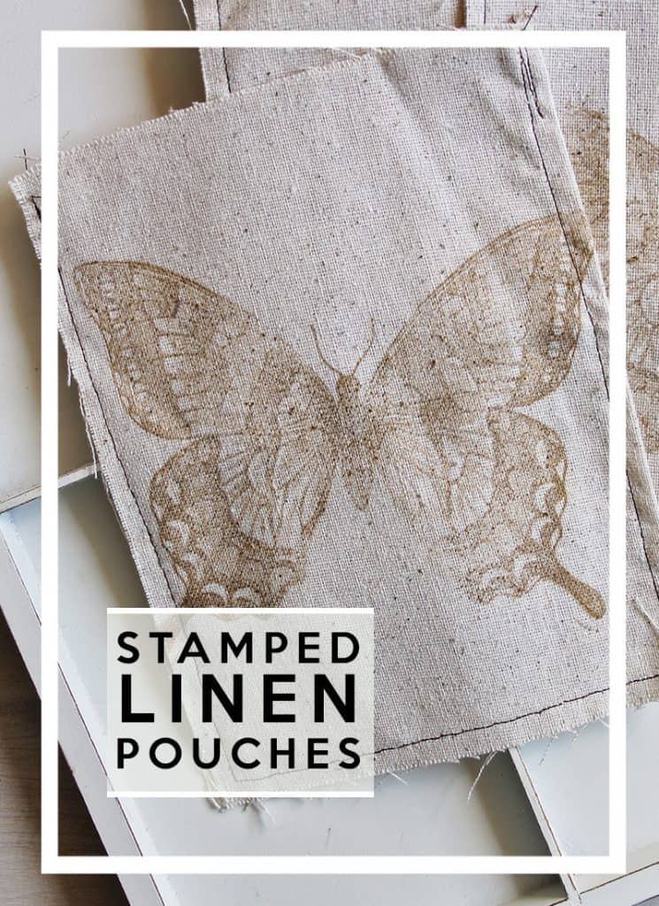 stamped linen pouches