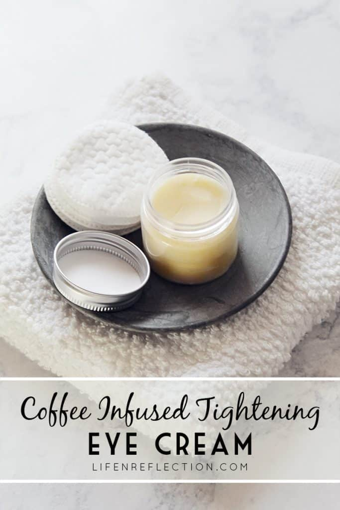 Reduce puffiness and fine lines with this recipe for an all natural tightening DIY coffee eye cream.
