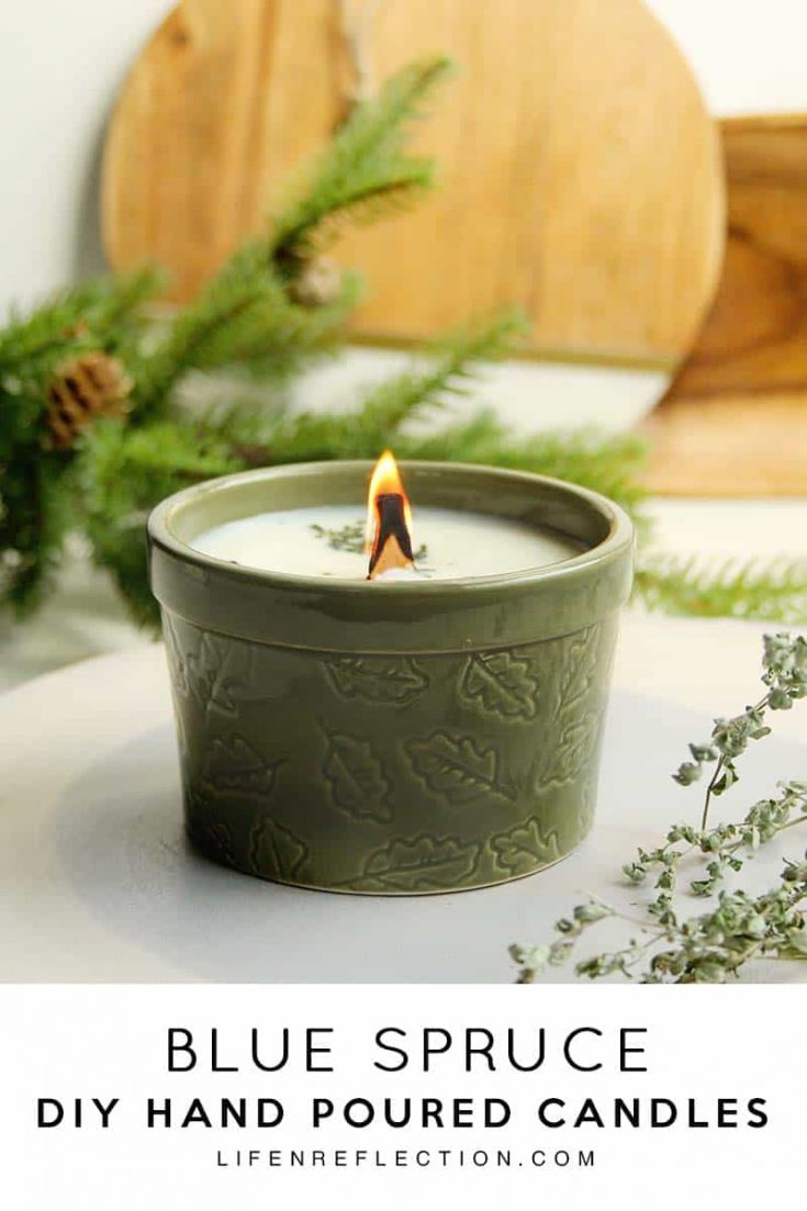 How to make Blue Spruce DIY Hand Poured Candles with wood wicks.  #candlemaking #woodwickcandles #diycandles