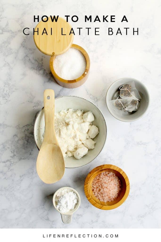 Ingredients for a Rich Spiced Chai Latte DIY Bath Soak