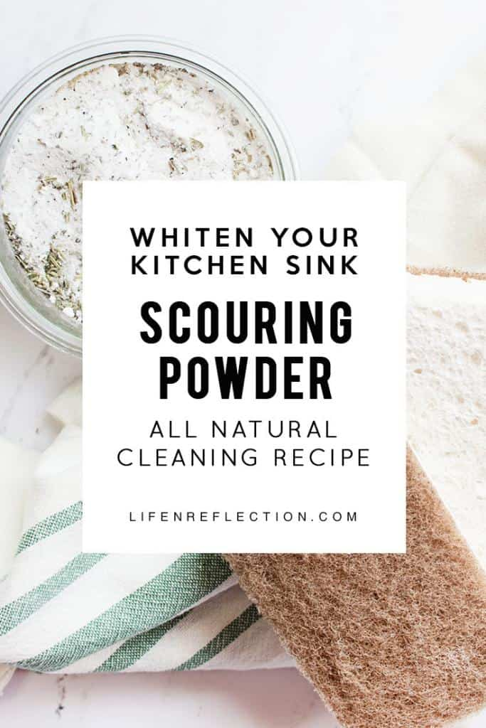 I love making this herbal homemade scouring powder. It's affordable, free from harsh chemicals, and it makes my kitchen sink clean and shiny!