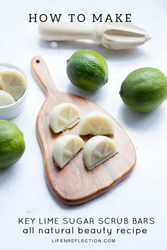 Ingredients for refreshingly sweet, key lime DIY sugar scrub bars