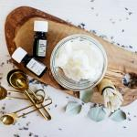 Whipped DIY Shaving Cream Made with Moisturizing Shea Butter and Coconut Oil. And Scented Naturally with Essential Oils.
