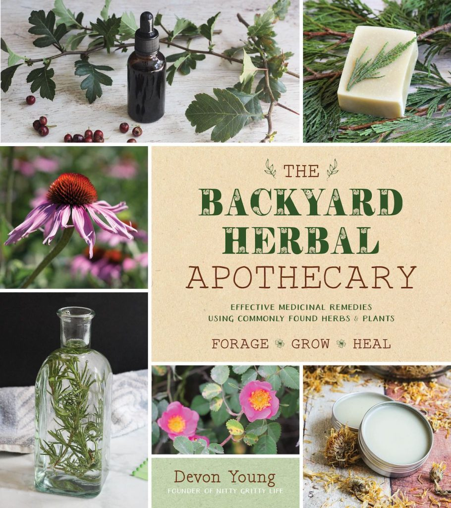 The Backyard Herbal Apothecary is cleverly divided into landscapes illustrated with monographs of the plants that grow  in each: the forest, grasslands, and marsh. There are also easy herbal recipes that follow each thorough plant monograph. And you can learn about all the different types of herbal preparations, from teas to lotions, and how to make them.