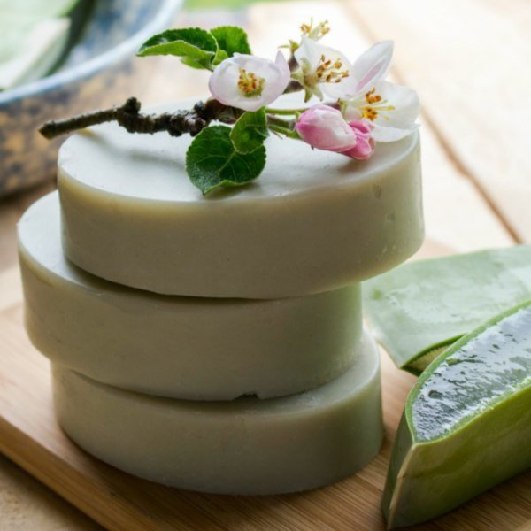Designed to be extra gentle, this aloe vera facial soap recipe is suitable for use as both a facial and body soap.