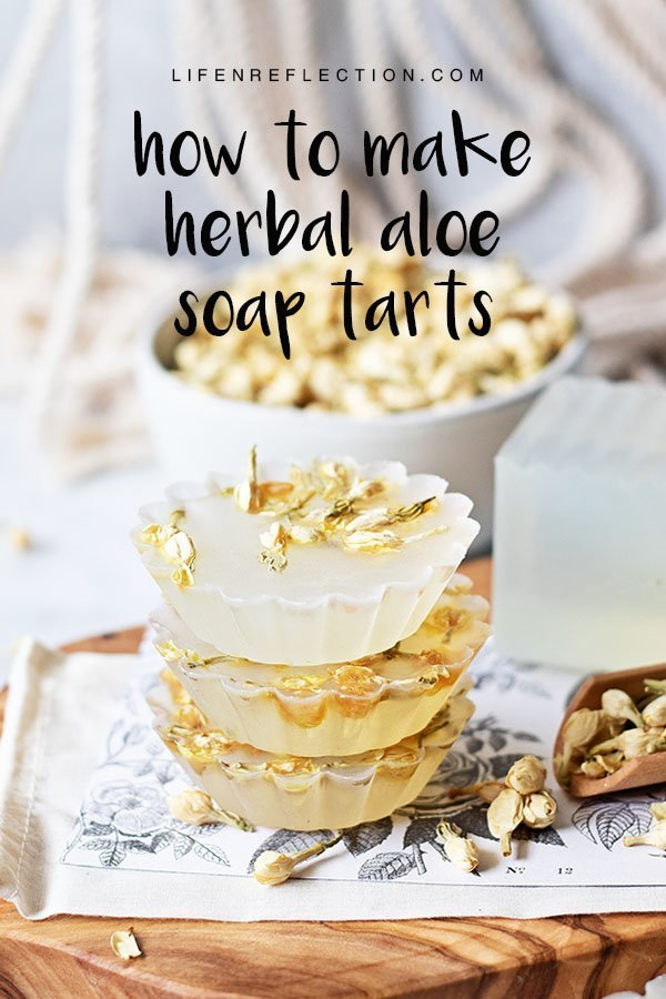 How to make herbal aloe vera soap tarts with natural soap ingredients.