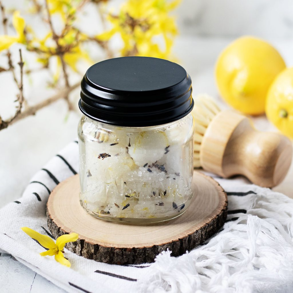 Whip up a batch of this easy lemon lavender sugar scrub recipe in your kitchen and you'll have your skin feeling silky smooth in minutes!