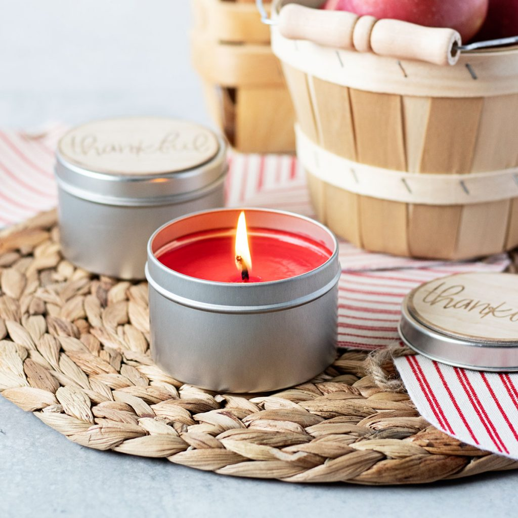 There's nothing better than walking into a room that smells amazing and matches the season! These apple cider candle tins are so just the thing!