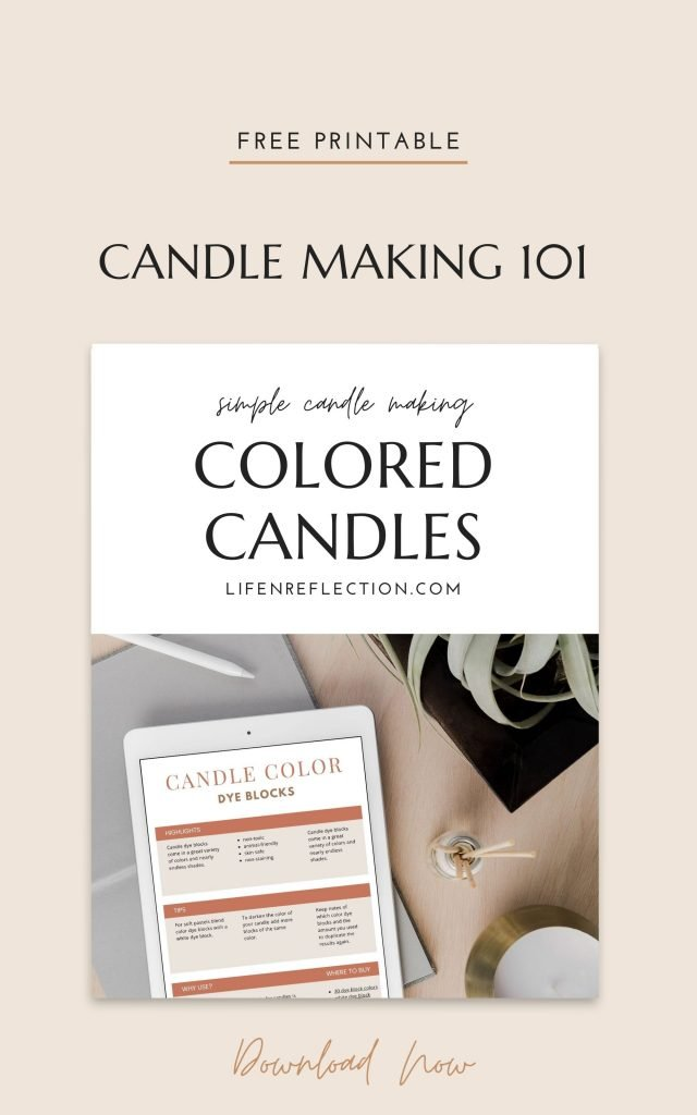 Printable Candle Making Guide to Colored Candles
