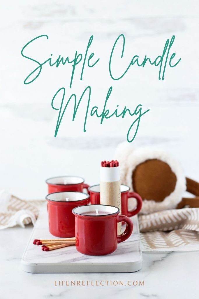 Make a handful of peppermint candles in a mug a DIY candle gift to warm hearts for Valentine's Day, Christmas, or just because during the winter season.