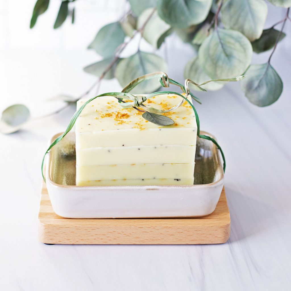 This easy melt and pour soap recipe for lemon poppy soap is full of zing!