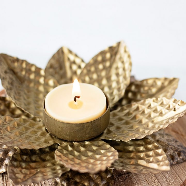 How to make beeswax tea light candles at home with a long lasting burn, golden color, and sweet honey smell.