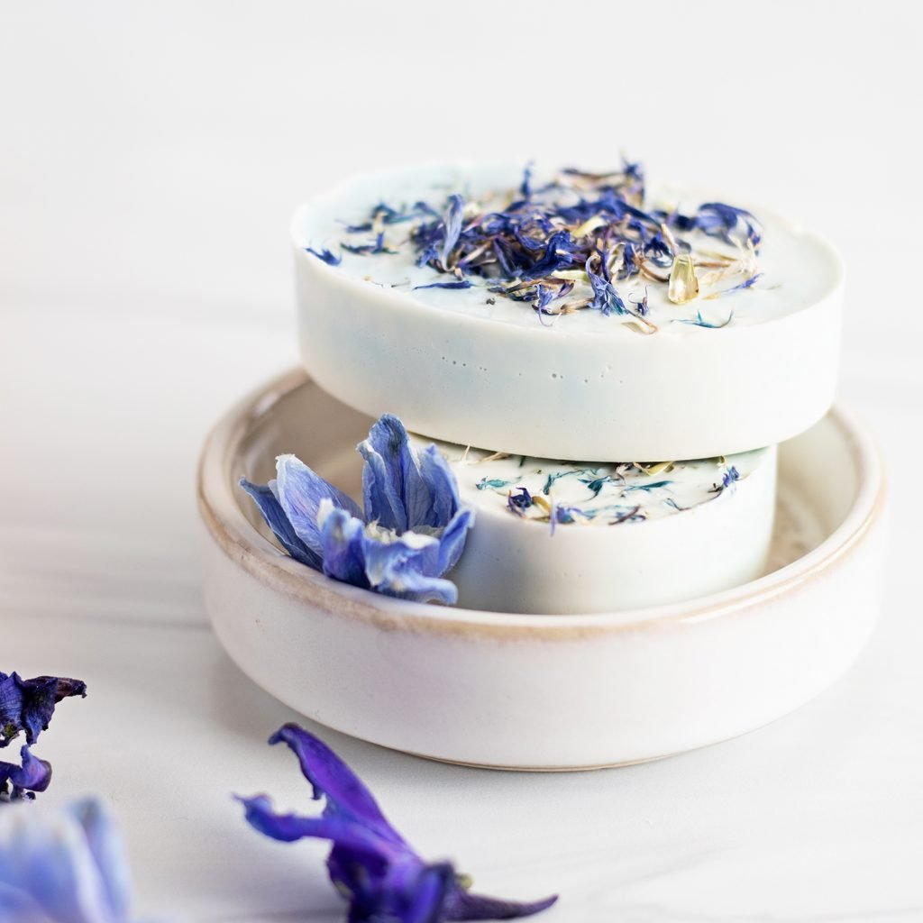 Get all the blue cornflower and oatmeal soap benefits for dry, itchy skin in one easy melt and pour soap recipe.
