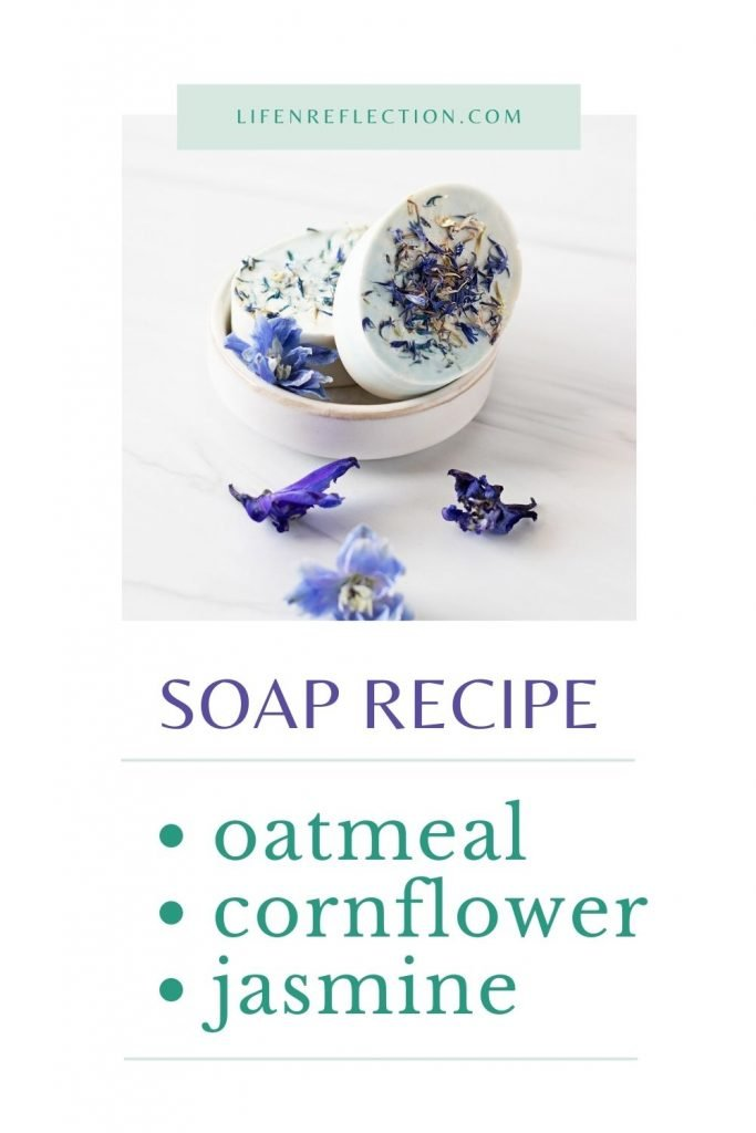 Get all the jasmine, blue cornflower and oatmeal soap benefits for dry, itchy skin in one easy melt and pour soap recipe.