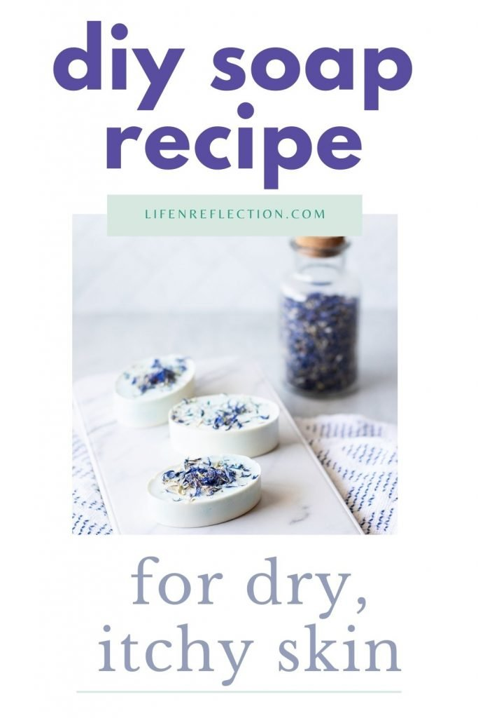 Here's how to make soap for dry skin with blue cornflower in a oatmeal  melt and pour soap recipe.
