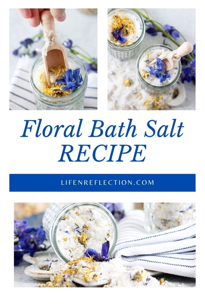 The colorful and fragrant flower combination of this floral bath salt recipe makes a lovely addition for an evening of self-care or a spa day at home.